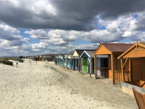 West Wittering beach huts in April